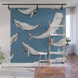 Whales in blue Wall Mural