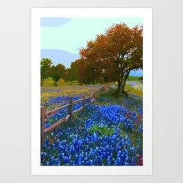 Bluebonnet season in Texas Art Print