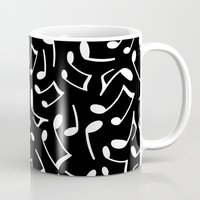 music notes Mugs featuring Music Notes Black and White by Cute to Boot