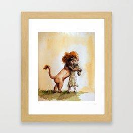 Little Girl and a Lion Framed Art Print