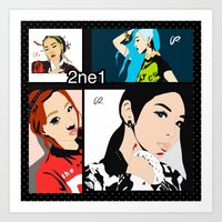 2ne1 Art Prints featuring Collage of 2ne1 by NelxArt