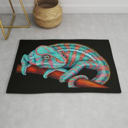 Panther Chameleon Turquoise Blue & Coral Red Rug