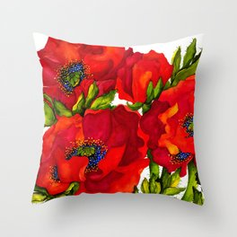 Bold Poppies Throw Pillow