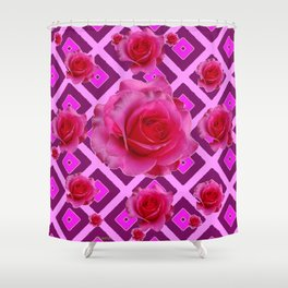Burgundy Purple Fuchsia Pink Roses  Patterns Shower Curtain