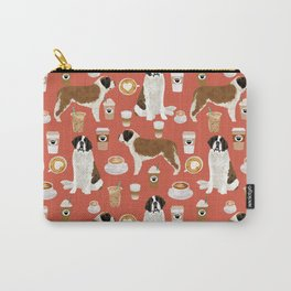 Saint Bernard coffee dog breed pattern pet friendly pet portraits dog art Carry-All Pouch