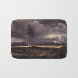 Carl Blechen - Stormy Weather over the Roman Campagna - German Romanticism - Oil Painting Bath Mat