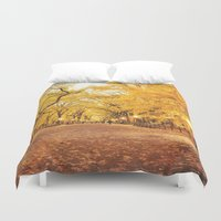 literary Duvet Covers featuring New York City Autumn by Vivienne Gucwa