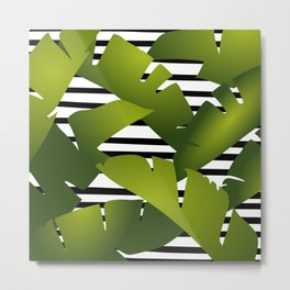 Banana Leaf Black and White Stripes Modern Metal Print