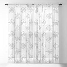 Snowflakes (Gray & White Pattern) Sheer Curtain