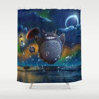 studio ghibli Shower Curtains featuring Studio Ghibli: My Neighbour Totoros by Laurence Andrew Page Illustrator