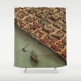 Vintage Panoramic Map Eureka Shower Curtain