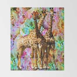 GIRAFFE TRIO Throw Blanket
