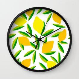 Pop Lemon & green Pattern #summervibes Wall Clock