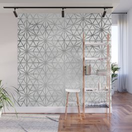 Modern silver stars geometric pattern Christmas white marble Wall Mural