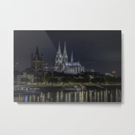 Night View & City Lights Cologne Cathedral in Cologne, North Rhine Westphalia, Germany Metal Print