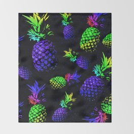 neon colored pineapple pattern Throw Blanket