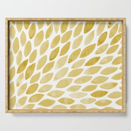 Watercolor brush strokes burst - yellow Serving Tray