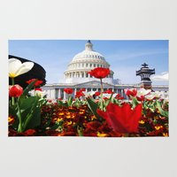 patriotic Area & Throw Rugs featuring Patriotic Tulips by Madison Webb