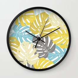 Colourful tropical leaves Wall Clock