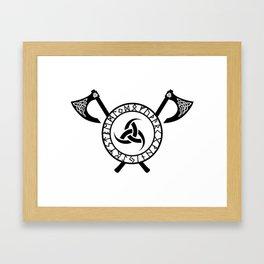 Norse Axe - Triple Horn of Odin Framed Art Print