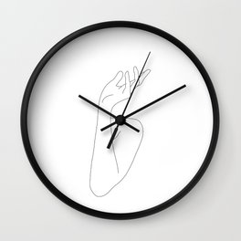Hands line drawing illustration - Leona Wall Clock