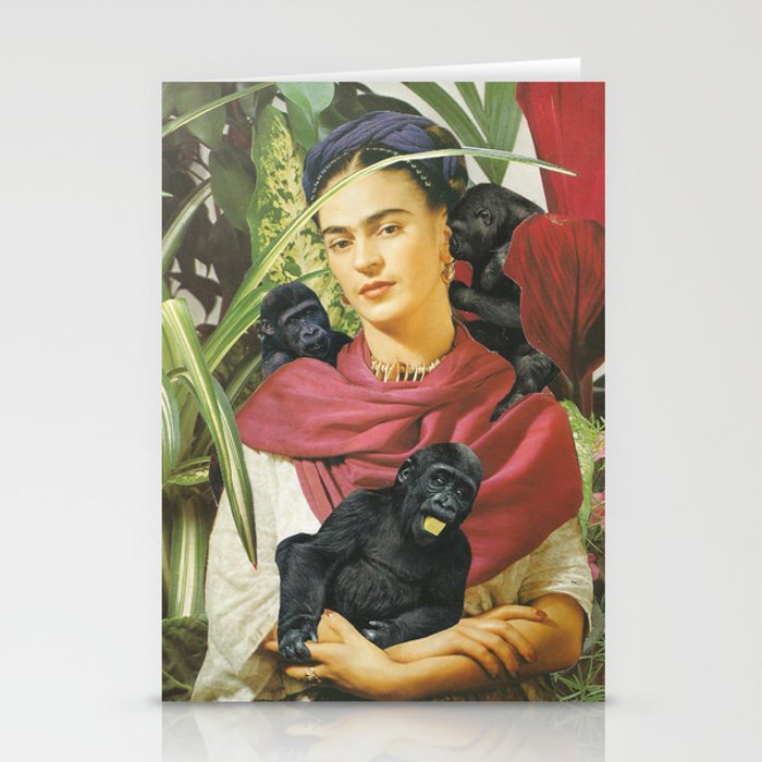 Frida Kahlo - Self portrait with monkeys recreated Stationery Cards