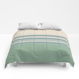 Mint Green Cream Stripes Comforters