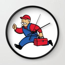 Aircon Technician Running Cartoon Wall Clock