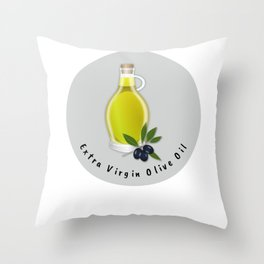 Extra Virgin Olive Oil Throw Pillow
