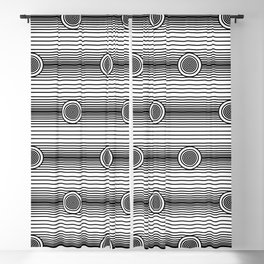 Concentric Circles and Stripes in Black and White Blackout Curtain