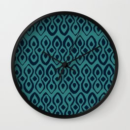 brocade indigo blue Wall Clock