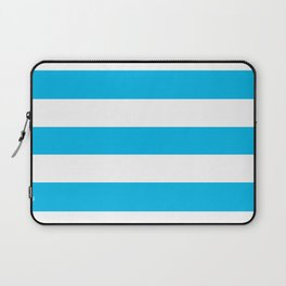 Cyan (process) - solid color - white stripes pattern Laptop Sleeve