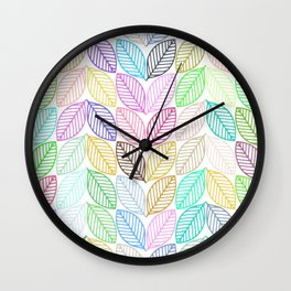 Colorful abstract stylized leafs pattern Wall Clock