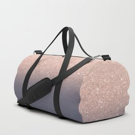 Modern faux rose gold glitter ombre gradient on purple grey Duffle Bag