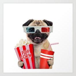 Pug watching a movie Art Print