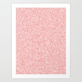 Spacey Melange - White and Coral Pink Art Print