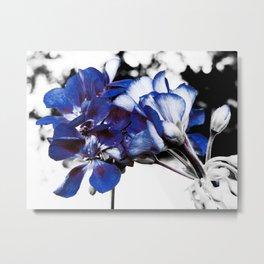 Classic Blue Pop of Color Flowers Metal Print