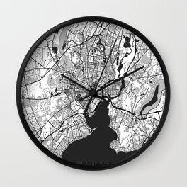 New Haven Map Gray Wall Clock