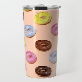 Glazed watercolor donuts on pink Travel Mug