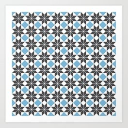 8 Point Star Pattern, Dusk Blue, Charcoal Black Art Print