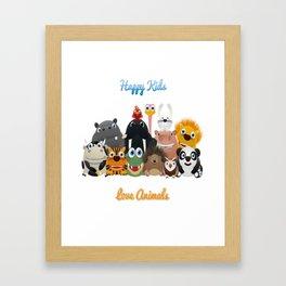 Happy kids love animals Framed Art Print