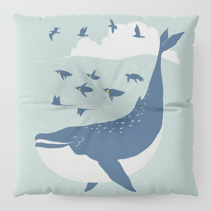 Fly in the sea Floor Pillow