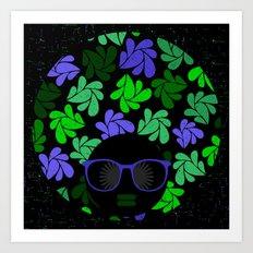 Afro Diva : Indigo Blue & Green Art Print
