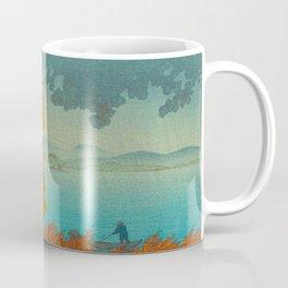 Vintage Japanese Woodblock Print Autumn Japanese Landscape Field Tall Tree Coffee Mug