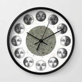 the moon's cycle on white Wall Clock