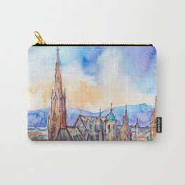 Viena aerial view - ink and watercolor illustration Carry-All Pouch