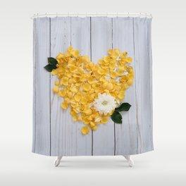 flower petals in a heart Shower Curtain