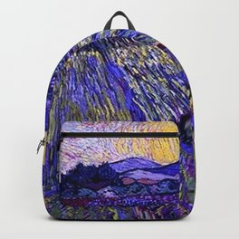 Lavender Fields with Rising Sun by Vincent van Gogh Backpack