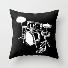 Drum Kit Rock Black White Throw Pillow