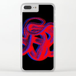 Snek 2 Snake Red Blue Clear iPhone Case